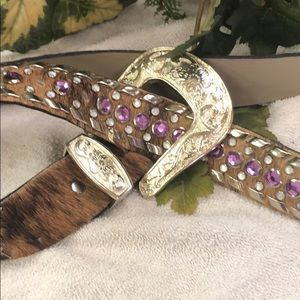 Accessories - Ladies, cow hide with bling belt